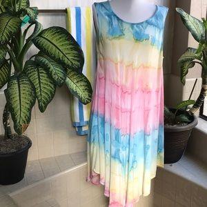 Advance Apparels Boho pastel semi-sheer dress